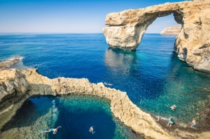 The world famous Azure Window in Gozo island Malta